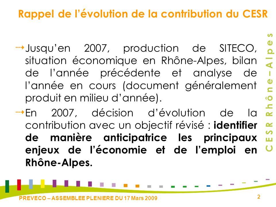C E S R R h ô n e – A l p e s 2 PREVECO – ASSEMBLEE PLENIERE DU 17 Mars 2009 Rappel de lévolution de la contribution du CESR Jusquen 2007, production de SITECO, situation économique en Rhône-Alpes, bilan de lannée précédente et analyse de lannée en cours (document généralement produit en milieu dannée).