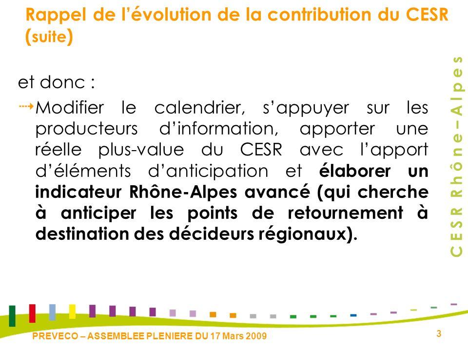 C E S R R h ô n e – A l p e s 3 PREVECO – ASSEMBLEE PLENIERE DU 17 Mars 2009 Rappel de lévolution de la contribution du CESR ( suite ) et donc : Modifier le calendrier, sappuyer sur les producteurs dinformation, apporter une réelle plus-value du CESR avec lapport déléments danticipation et élaborer un indicateur Rhône-Alpes avancé (qui cherche à anticiper les points de retournement à destination des décideurs régionaux).