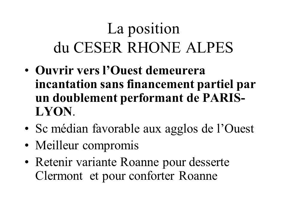 La position du CESER RHONE ALPES Ouvrir vers lOuest demeurera incantation sans financement partiel par un doublement performant de PARIS- LYON.