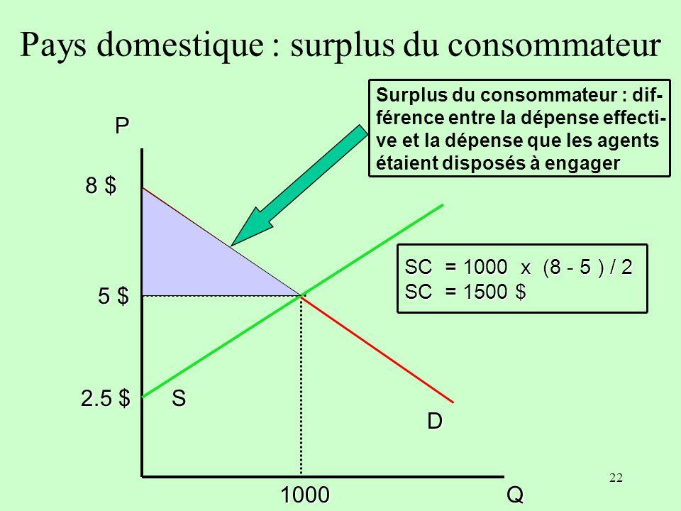 21 A- Le modèle statique à rendements différenciés La production du pays domestique seffectue à rendement décroissant et celles du pays partenaire et