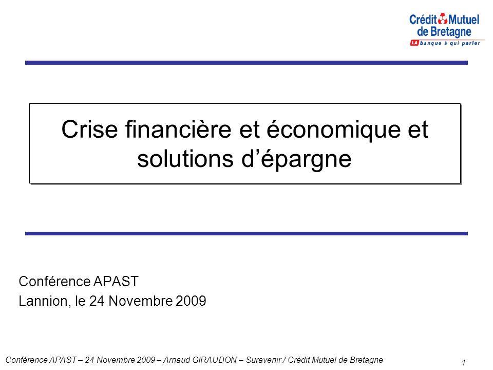 Conférence APAST – 24 Novembre 2009 – Arnaud GIRAUDON – Suravenir / Crédit Mutuel de Bretagne 1 Crise financière et économique et solutions dépargne C