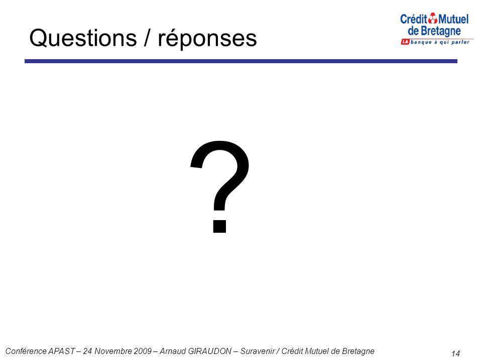 Conférence APAST – 24 Novembre 2009 – Arnaud GIRAUDON – Suravenir / Crédit Mutuel de Bretagne 14 Questions / réponses ?
