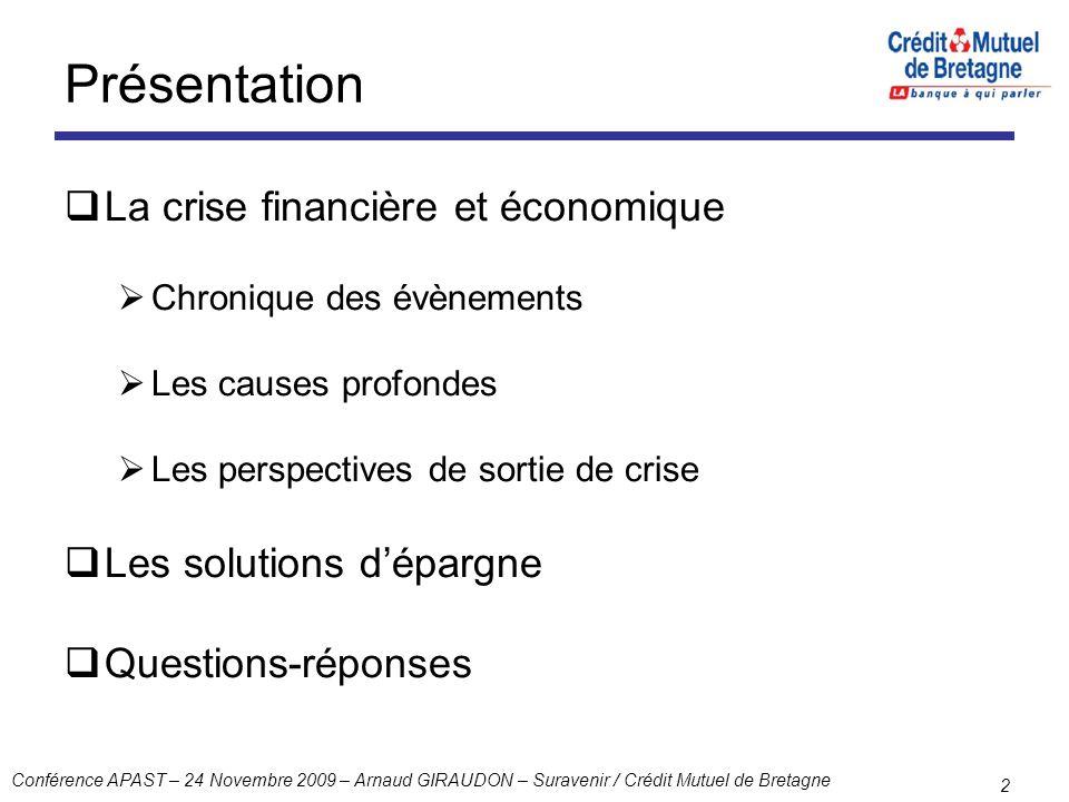 Conférence APAST – 24 Novembre 2009 – Arnaud GIRAUDON – Suravenir / Crédit Mutuel de Bretagne 2 Présentation La crise financière et économique Chroniq