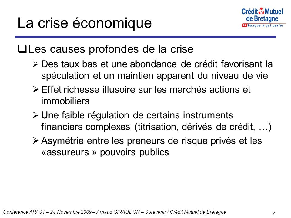Conférence APAST – 24 Novembre 2009 – Arnaud GIRAUDON – Suravenir / Crédit Mutuel de Bretagne 7 La crise économique Les causes profondes de la crise D