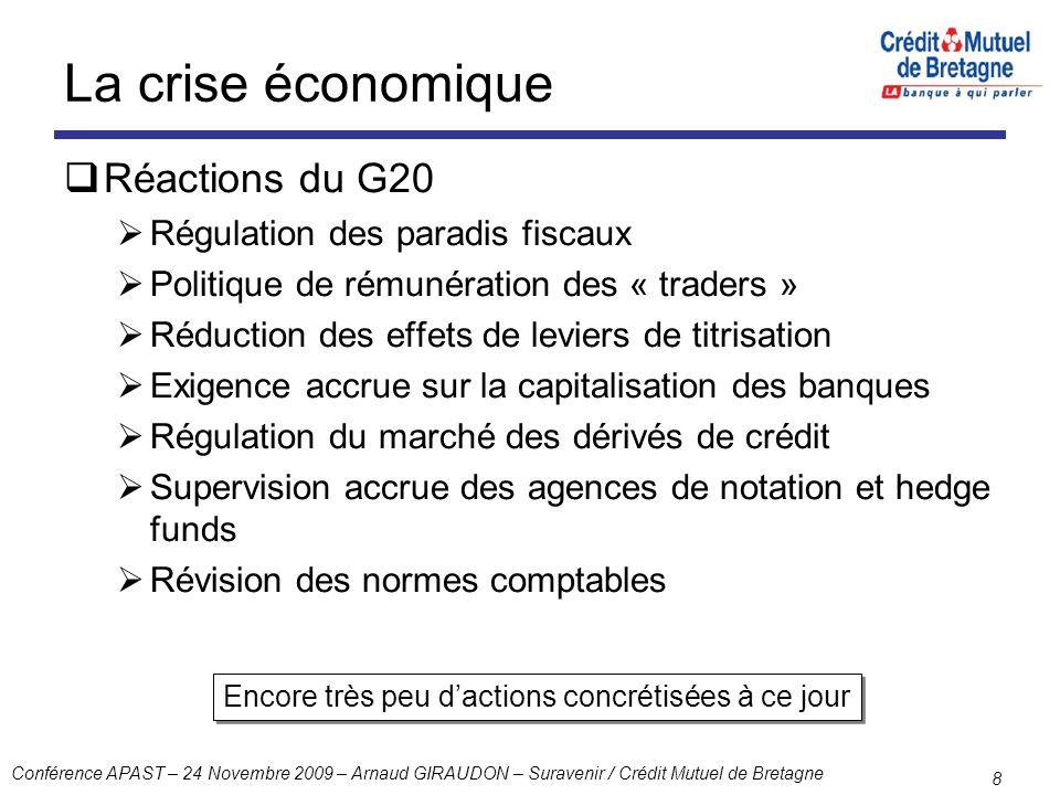 Conférence APAST – 24 Novembre 2009 – Arnaud GIRAUDON – Suravenir / Crédit Mutuel de Bretagne 8 La crise économique Réactions du G20 Régulation des pa