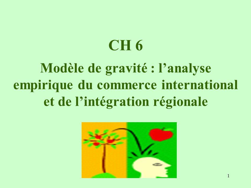 1 CH 6 Modèle de gravité : lanalyse empirique du commerce international et de lintégration régionale