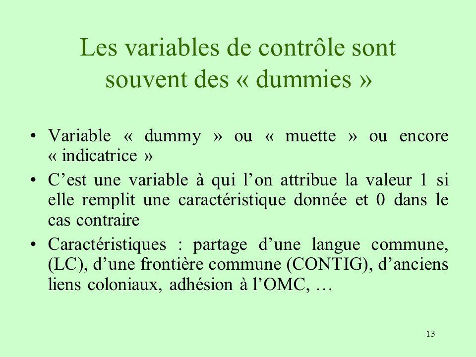 13 Les variables de contrôle sont souvent des « dummies » Variable « dummy » ou « muette » ou encore « indicatrice » Cest une variable à qui lon attri