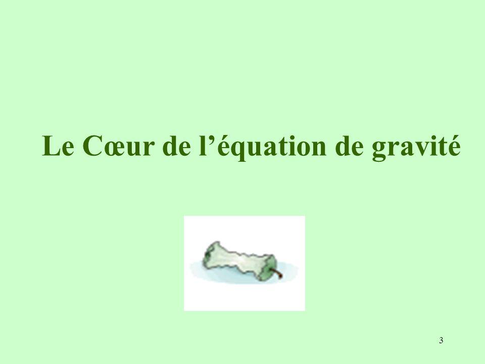 3 Le Cœur de léquation de gravité