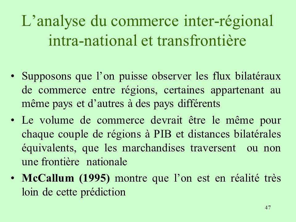 47 Lanalyse du commerce inter-régional intra-national et transfrontière Supposons que lon puisse observer les flux bilatéraux de commerce entre région