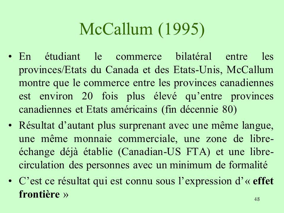 48 McCallum (1995) En étudiant le commerce bilatéral entre les provinces/Etats du Canada et des Etats-Unis, McCallum montre que le commerce entre les