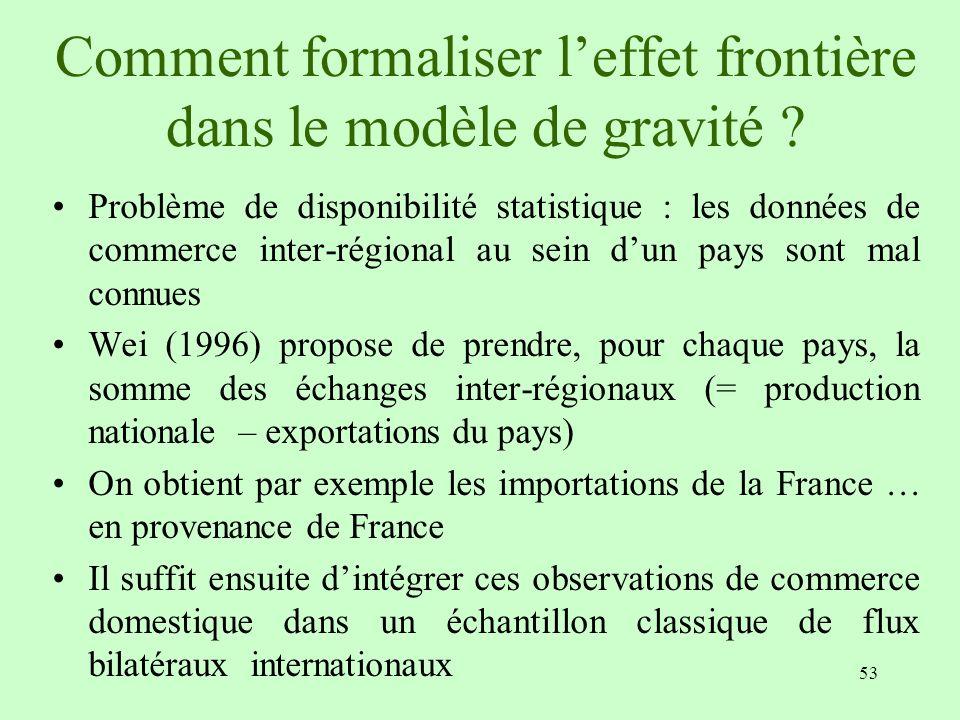 53 Comment formaliser leffet frontière dans le modèle de gravité ? Problème de disponibilité statistique : les données de commerce inter-régional au s