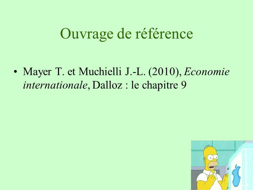 Ouvrage de référence Mayer T. et Muchielli J.-L. (2010), Economie internationale, Dalloz : le chapitre 9