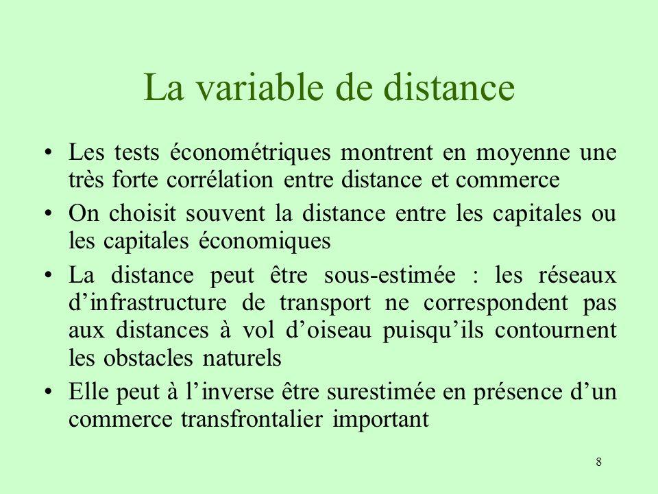 8 La variable de distance Les tests économétriques montrent en moyenne une très forte corrélation entre distance et commerce On choisit souvent la dis