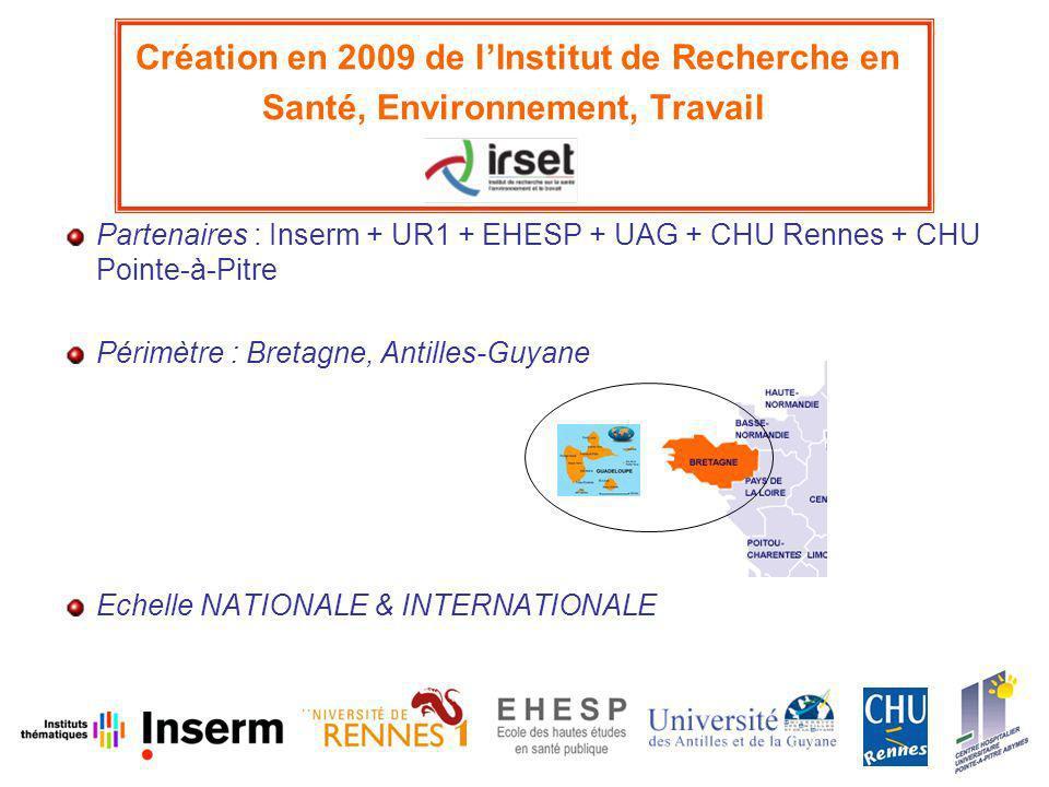 Création en 2009 de lInstitut de Recherche en Santé, Environnement, Travail Partenaires : Inserm + UR1 + EHESP + UAG + CHU Rennes + CHU Pointe-à-Pitre Périmètre : Bretagne, Antilles-Guyane Echelle NATIONALE & INTERNATIONALE
