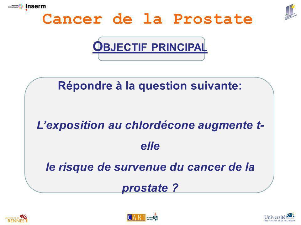Répondre à la question suivante: Lexposition au chlordécone augmente t- elle le risque de survenue du cancer de la prostate .