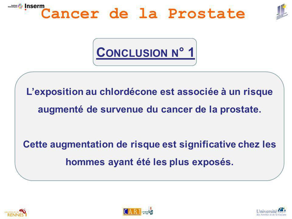 C ONCLUSION N ° 1 Lexposition au chlordécone est associée à un risque augmenté de survenue du cancer de la prostate.