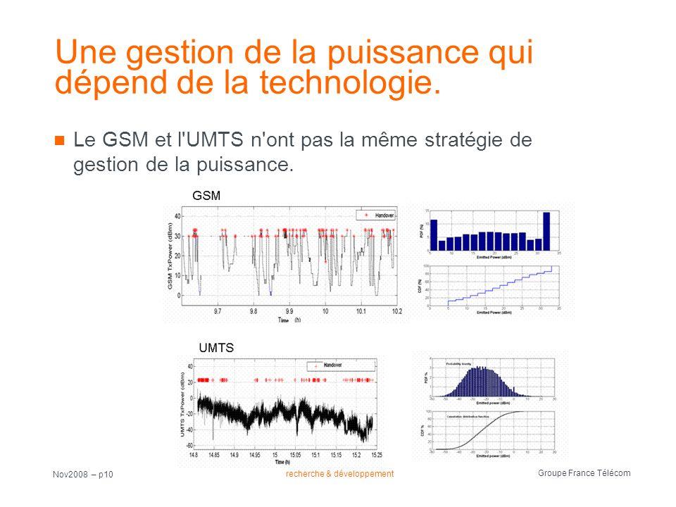 recherche & développement Groupe France Télécom Nov2008 – p10 Une gestion de la puissance qui dépend de la technologie. Le GSM et l'UMTS n'ont pas la