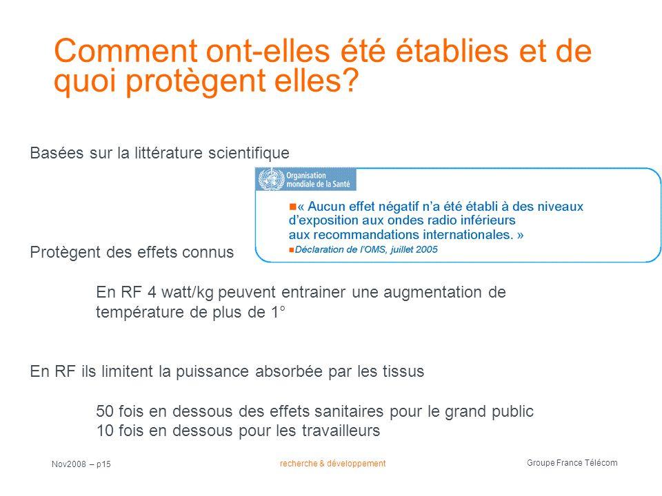 recherche & développement Groupe France Télécom Nov2008 – p15 Comment ont-elles été établies et de quoi protègent elles? Basées sur la littérature sci