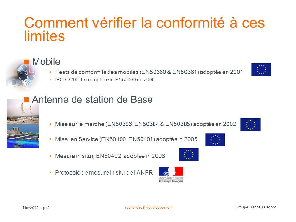 recherche & développement Groupe France Télécom Nov2008 – p18 Comment vérifier la conformité à ces limites Mobile Tests de conformité des mobiles (EN5