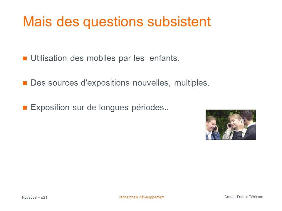recherche & développement Groupe France Télécom Nov2008 – p21 Mais des questions subsistent Utilisation des mobiles par les enfants. Des sources d'exp
