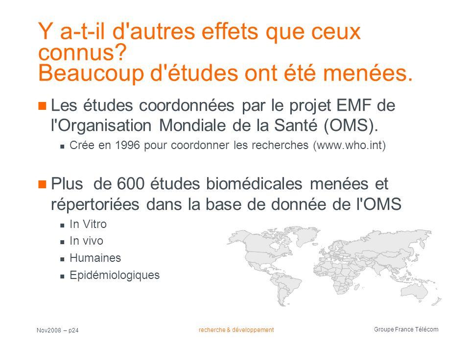 recherche & développement Groupe France Télécom Nov2008 – p24 Y a-t-il d'autres effets que ceux connus? Beaucoup d'études ont été menées. Les études c