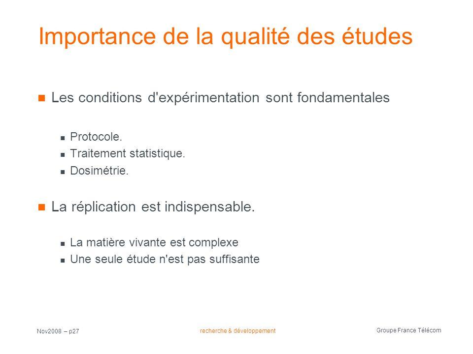 recherche & développement Groupe France Télécom Nov2008 – p27 Importance de la qualité des études Les conditions d'expérimentation sont fondamentales