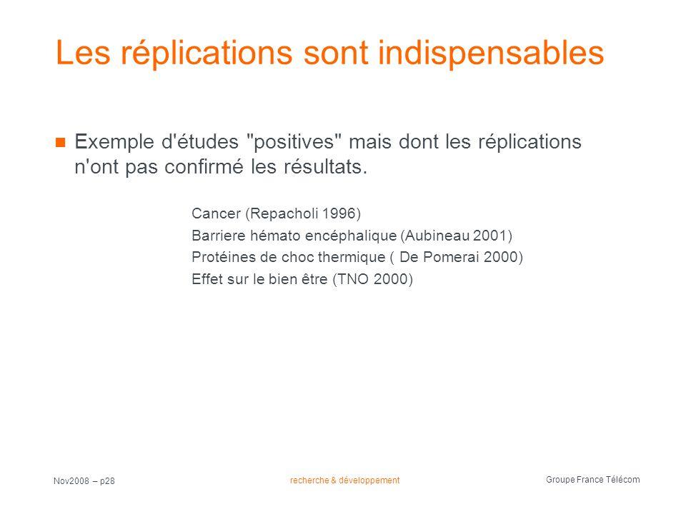 recherche & développement Groupe France Télécom Nov2008 – p28 Les réplications sont indispensables Exemple d'études