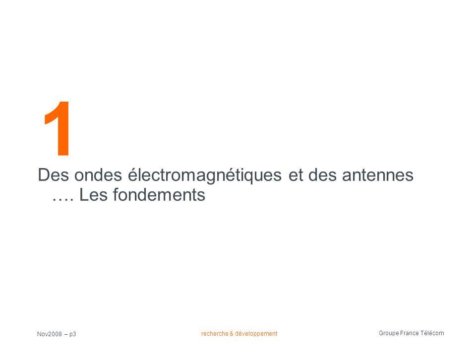 recherche & développement Groupe France Télécom Nov2008 – p3 1 Des ondes électromagnétiques et des antennes …. Les fondements