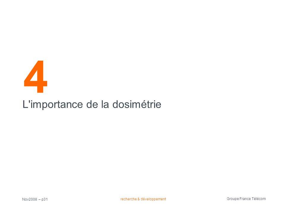 recherche & développement Groupe France Télécom Nov2008 – p31 4 L'importance de la dosimétrie