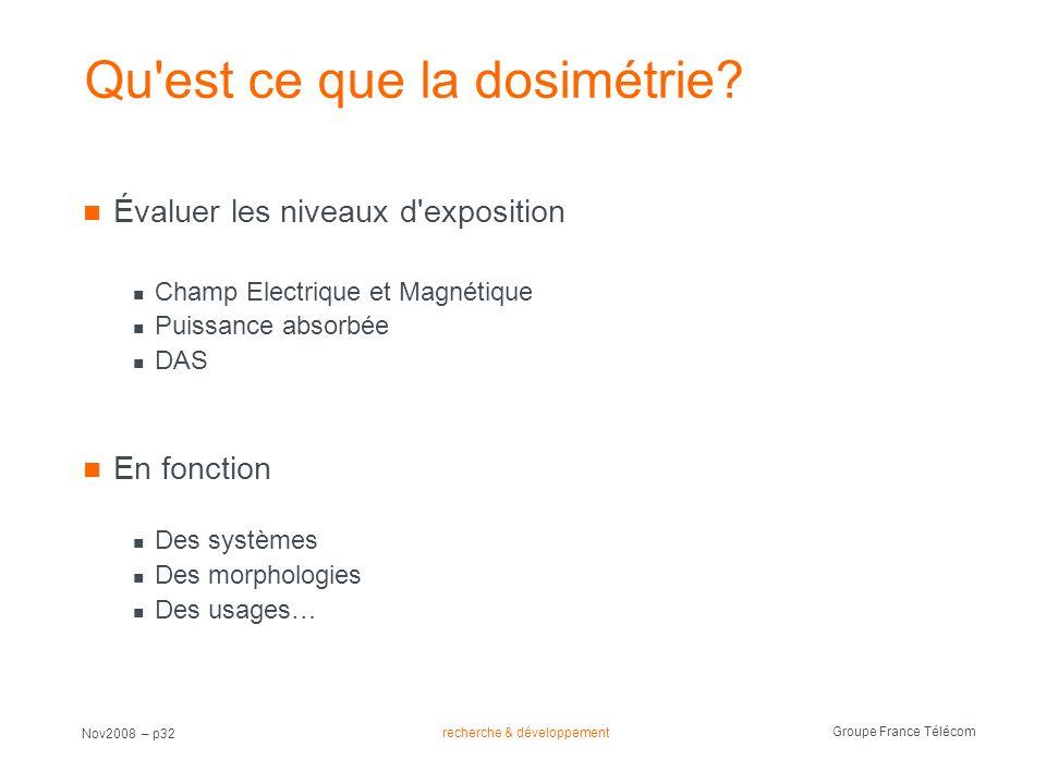 recherche & développement Groupe France Télécom Nov2008 – p32 Qu'est ce que la dosimétrie? Évaluer les niveaux d'exposition Champ Electrique et Magnét