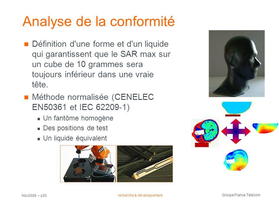 recherche & développement Groupe France Télécom Nov2008 – p35 Analyse de la conformité Définition d'une forme et d'un liquide qui garantissent que le