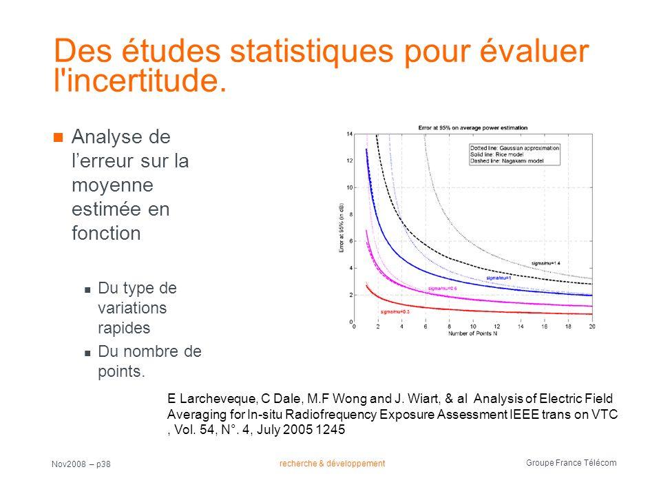 recherche & développement Groupe France Télécom Nov2008 – p38 Des études statistiques pour évaluer l'incertitude. Analyse de lerreur sur la moyenne es