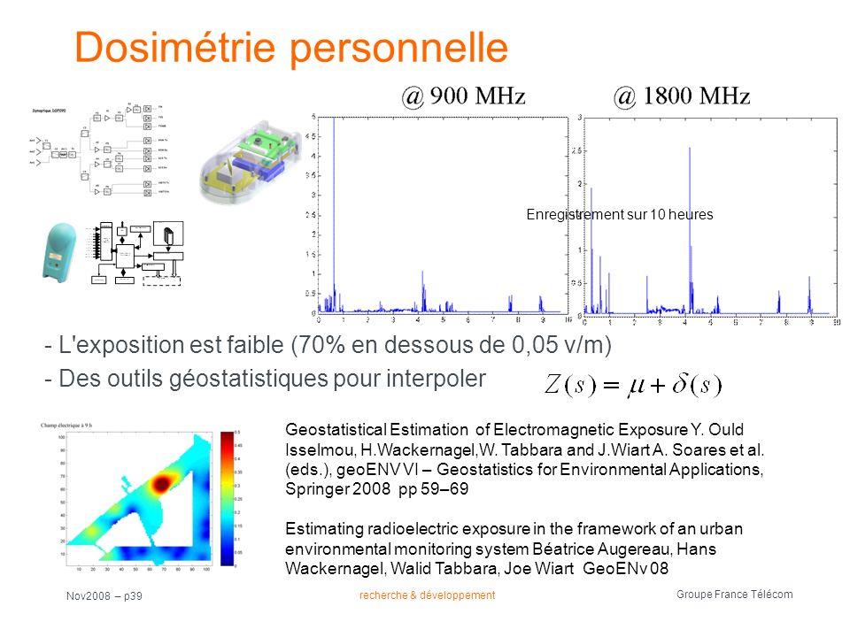recherche & développement Groupe France Télécom Nov2008 – p39 Dosimétrie personnelle Enregistrement sur 10 heures Geostatistical Estimation of Electro