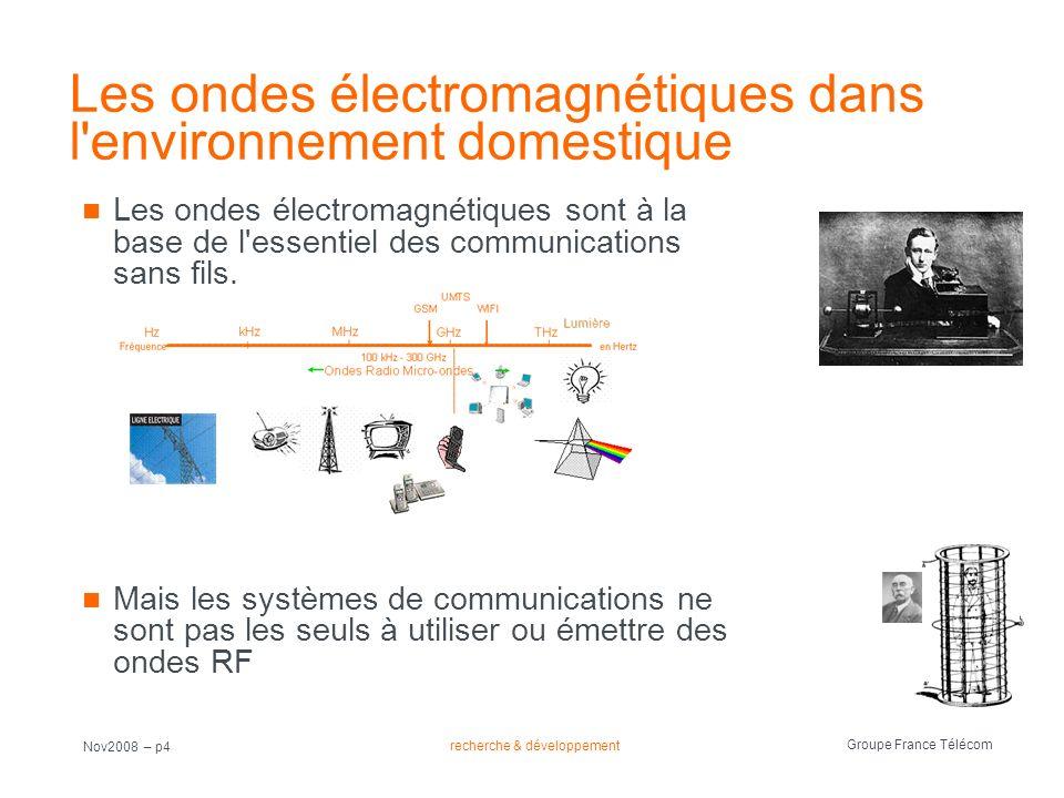 recherche & développement Groupe France Télécom Nov2008 – p4 Les ondes électromagnétiques dans l'environnement domestique Les ondes électromagnétiques