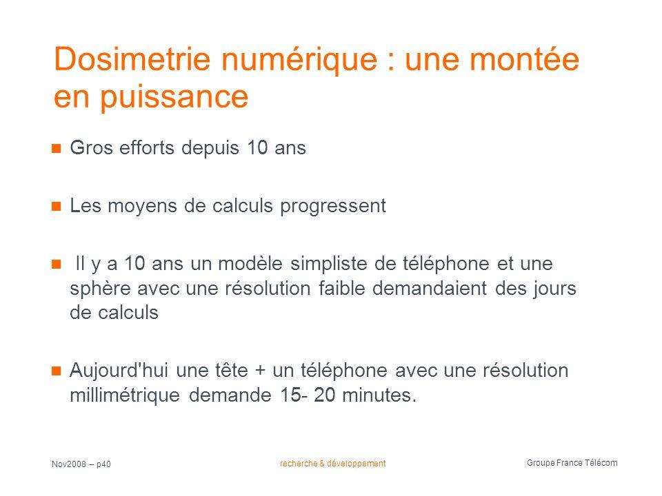 recherche & développement Groupe France Télécom Nov2008 – p40 Dosimetrie numérique : une montée en puissance Gros efforts depuis 10 ans Les moyens de