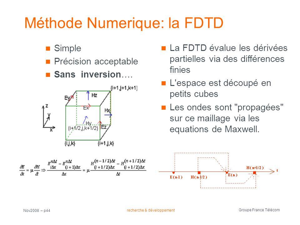 recherche & développement Groupe France Télécom Nov2008 – p44 Méthode Numerique: la FDTD Simple Précision acceptable Sans inversion…. La FDTD évalue l