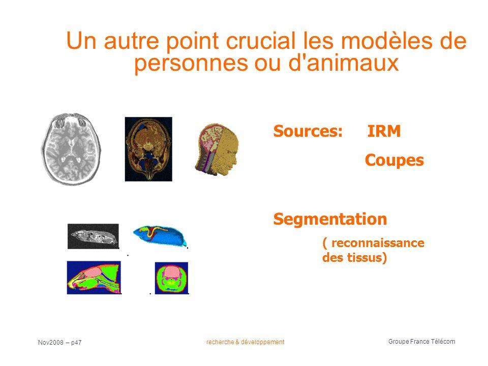 recherche & développement Groupe France Télécom Nov2008 – p47 Un autre point crucial les modèles de personnes ou d'animaux Sources: IRM Coupes Segment