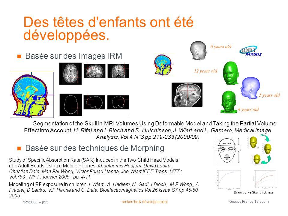 recherche & développement Groupe France Télécom Nov2008 – p55 Des têtes d'enfants ont été développées. Basée sur des Images IRM Basée sur des techniqu