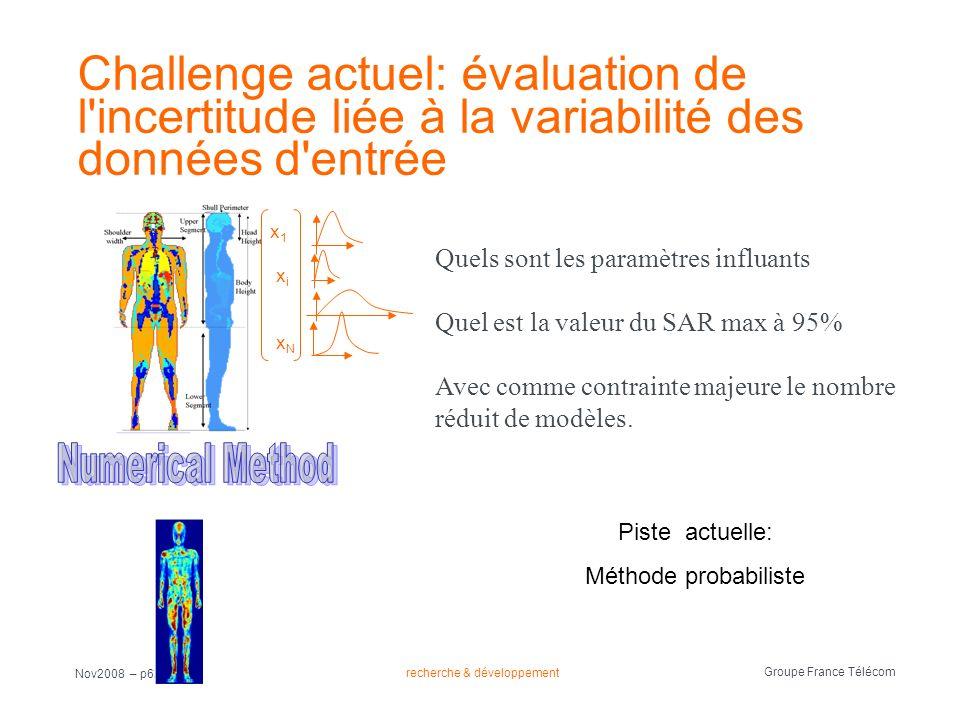 recherche & développement Groupe France Télécom Nov2008 – p63 Challenge actuel: évaluation de l'incertitude liée à la variabilité des données d'entrée