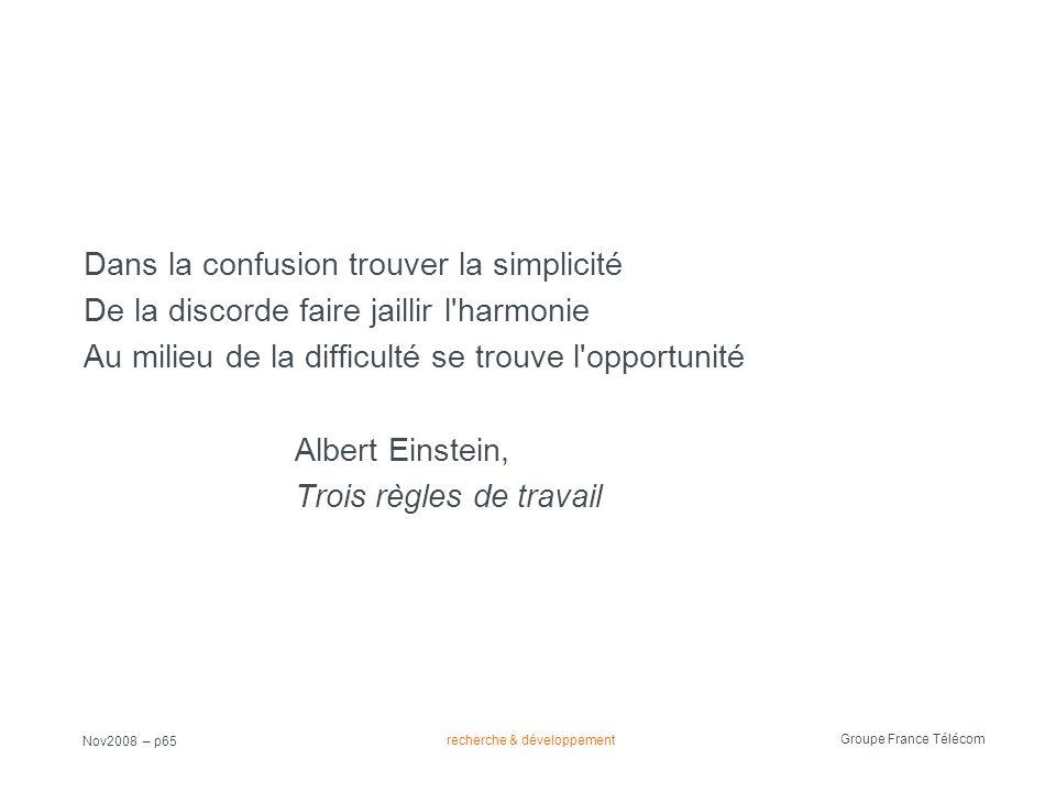 recherche & développement Groupe France Télécom Nov2008 – p65 Dans la confusion trouver la simplicité De la discorde faire jaillir l'harmonie Au milie