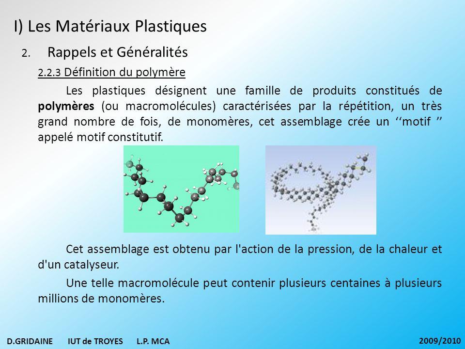 I) Les Matériaux Plastiques 2. Rappels et Généralités 2.2.3 Définition du polymère Les plastiques désignent une famille de produits constitués de poly