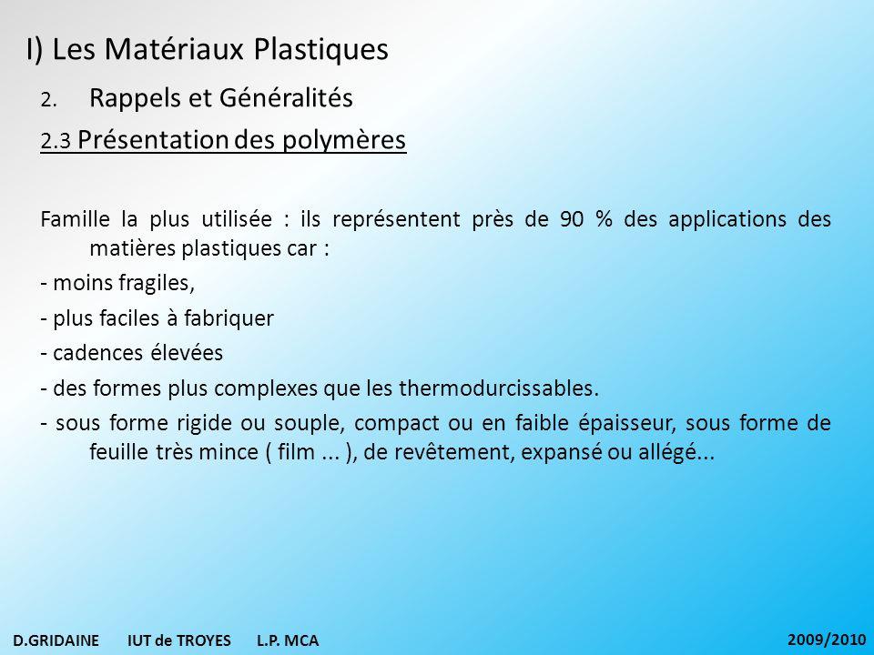 I) Les Matériaux Plastiques 2. Rappels et Généralités 2.3 Présentation des polymères Famille la plus utilisée : ils représentent près de 90 % des appl
