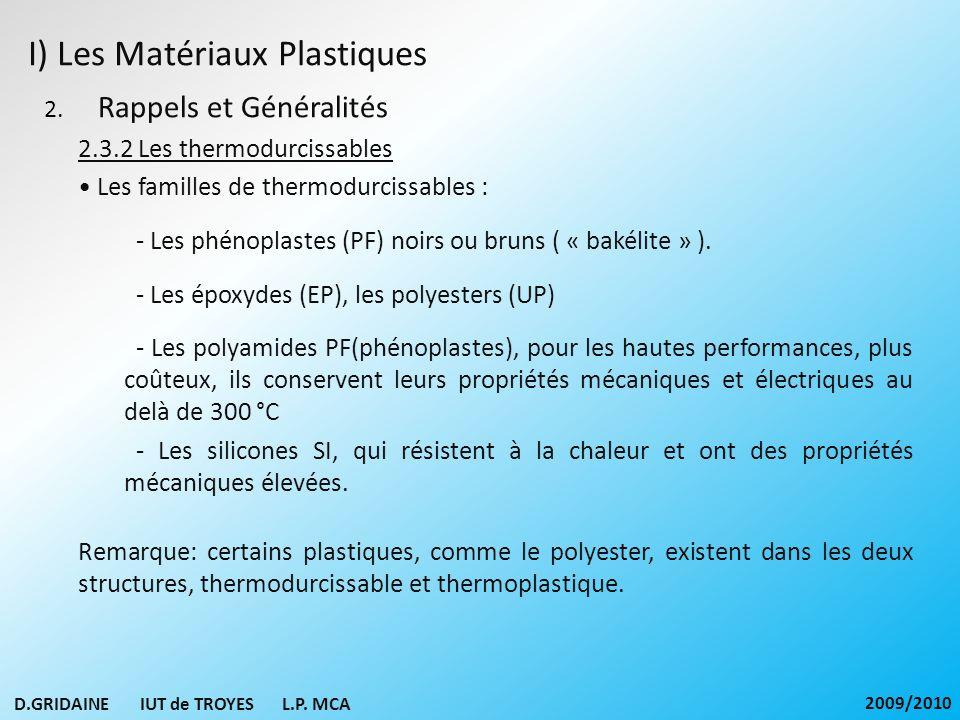 I) Les Matériaux Plastiques 2. Rappels et Généralités 2.3.2 Les thermodurcissables Les familles de thermodurcissables : - Les phénoplastes (PF) noirs