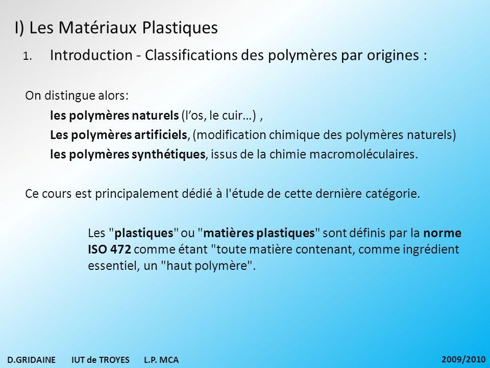 I) Les Matériaux Plastiques 1. Introduction - Classifications des polymères par origines : On distingue alors: - les polymères naturels (los, le cuir…