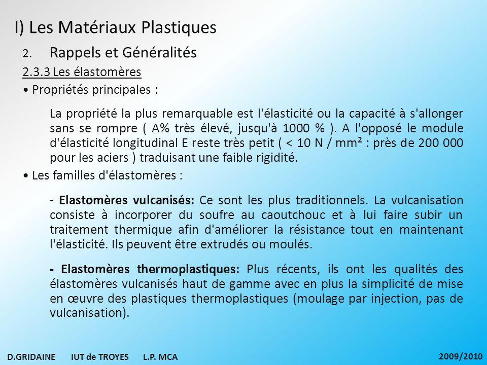 I) Les Matériaux Plastiques 2. Rappels et Généralités 2.3.3 Les élastomères Propriétés principales : La propriété la plus remarquable est l'élasticité