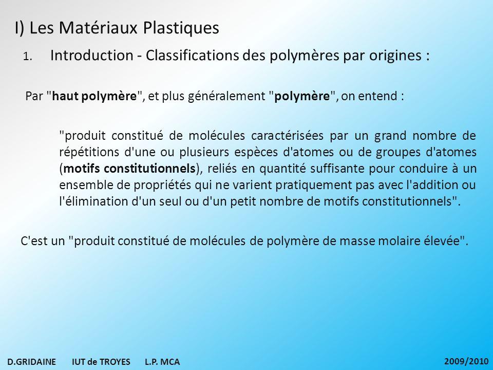 I) Les Matériaux Plastiques 1. Introduction - Classifications des polymères par origines : Par