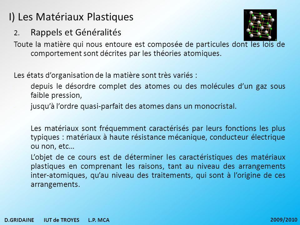 I) Les Matériaux Plastiques 2. Rappels et Généralités Toute la matière qui nous entoure est composée de particules dont les lois de comportement sont