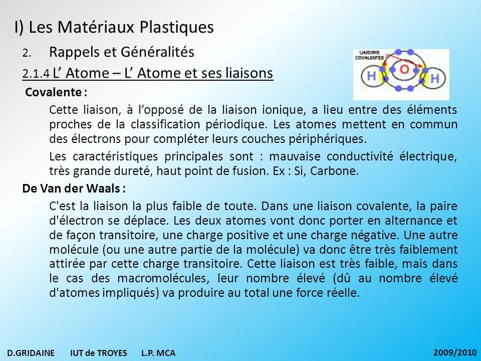 I) Les Matériaux Plastiques 2. Rappels et Généralités 2.1.4 L Atome – L Atome et ses liaisons Covalente : Cette liaison, à lopposé de la liaison ioniq