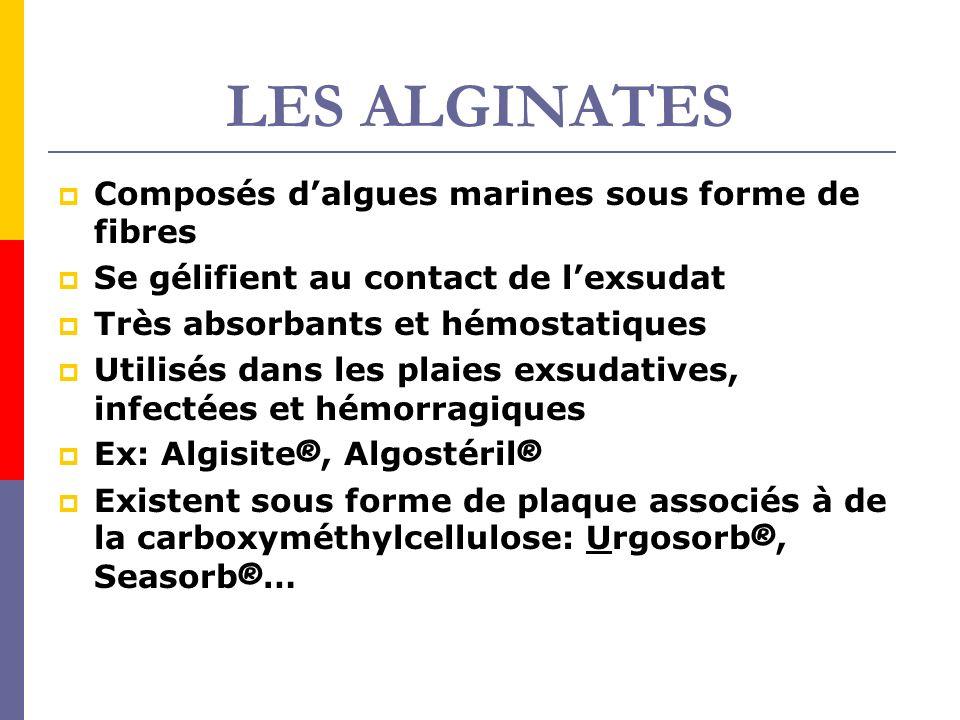 LES ALGINATES Composés dalgues marines sous forme de fibres Se gélifient au contact de lexsudat Très absorbants et hémostatiques Utilisés dans les pla