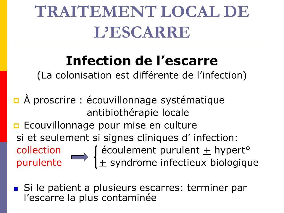 TRAITEMENT LOCAL DE LESCARRE Infection de lescarre (La colonisation est différente de linfection) À proscrire : écouvillonnage systématique antibiothé